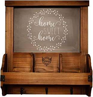 Rustic Wood Wall Organizer with Chalkboard, Hooks and Mail Sorter for Entryway, Office or Kitchen