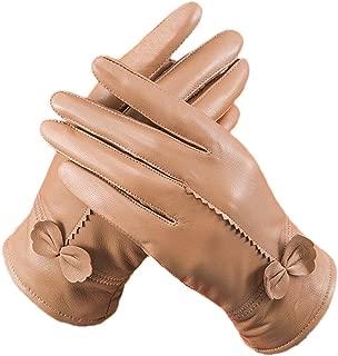 ROYAL WIND Women Ladies Luxury Soft Sheepskin Leather Gloves with Fleece Lining bowknot
