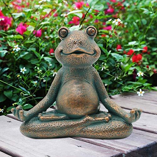 Goodeco Meditating frog ornament miniature,Zen yoga frog garden figurine statue- Indoor/Outdoor Garden Sculpture for Fairy Garden,Home,Patio,Deck,Porch Yard Art Decoration,13cm(Copper)