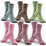 WOSTOO Women Socks Warm Winter Socks 6 Pairs Vintage Style Colorful Ladies' Cotton Socks Thick Knit Wool Breathable Cozy Crew Socks