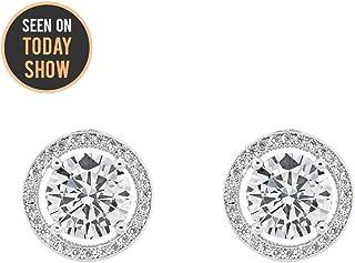8df0ee7e0 Cate & Chloe Ariel 18k White Gold Halo CZ Stud Earrings, Silver Simulated Diamond  Earrings
