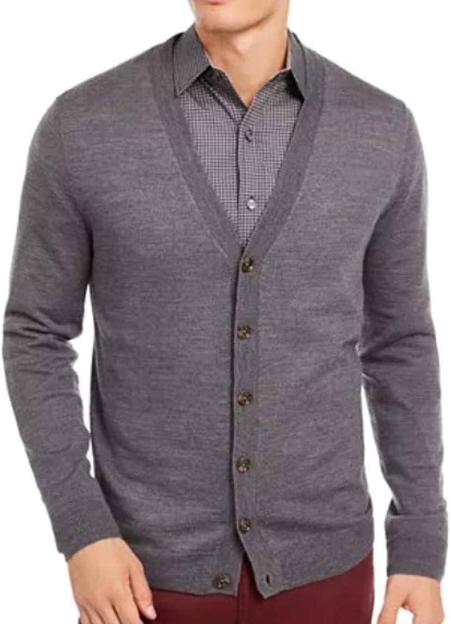 Liz Claiborne's Apt 9 Classic Fit Cardigan Sweater Merino Wool Blend Big & Tall Gray