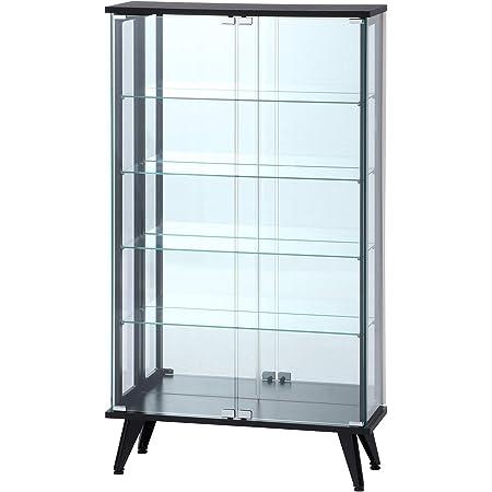 不二貿易 コレクションケース フィギュアケース 5段 高さ134cm ブラック 背面ミラー 強化ガラス ディスプレイ 98883