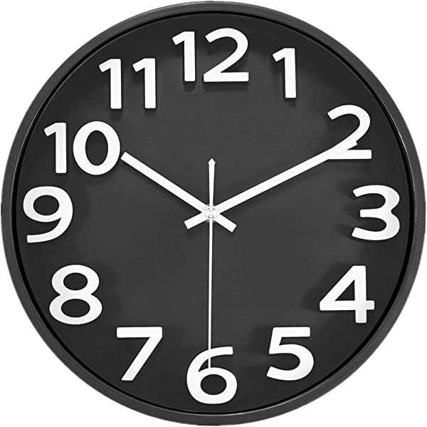 Lucor Large 3D Number Wall Clock 12 Inch Silent Non Ticking Quartz Decorative Round Wall Clock Modern Style For Living Room Home Office Battery Operated Black