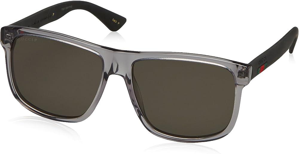 Gucci, occhiali da sole per uomo, rettangolari,  in acetato, colore lenti grigie GG0010S