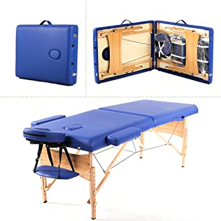 Massage Table Portable Massage Bed Spa Bed 73 Inches Height Adjustable Massage Table 2 Folding Massage Bed Spa Bed Facial Cradle Salon Bed W/Carry Case Salon Equipment