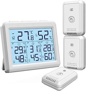 ORIA Termómetro Higrómetro Interior Exterior Medidor Temperatura y Humedad con 3 Sensor Remotos Digital Termohigrómetro ...