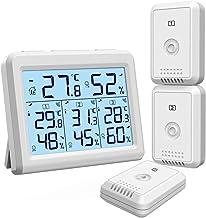 【2020 New】Oria thermometer hygrometer, binnen en buitenthermometer met 3 buitensensoren, achtergrondverlichting & groot lc...