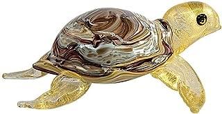 YourMurano Murano Glass Sculpture, Gold Turtle, Turtle Sculpture, Handcrafted, Marine Sculpture, 100% Trademark of Origin Guaranteed, Gocciola