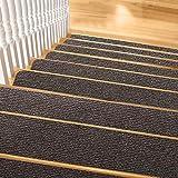 Pretigo Non Slip Carpet Stair Treads,7.5'x30' Anti-Slip Stair Runner for Wooden Steps,Safety Slip Resistant for Kids,Elders, Dogs Brown(Set of 14)