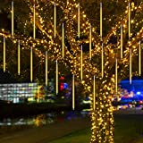 Lluvia de Luces Navidad, Luces Led Navidad Lluvia Meteoritos AUINSKY de 50 cm, 10 Tubos, 480 Led, Luces de Navidad Exterior Cascada Adecuada para Navidad, Decoración del Jardín del Hogar