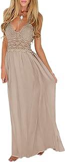 Women Crochet Boho Evening Party Casual Cross Back Maxi Long Dress Size 8-10-12