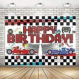 Race Car Theme Party Decorations Race Car Happy Birthday Racing Car Checkered Flag Backdrop Banner | Race Car Backdrop Background Banner Wall Decorations Birthday Party Supplies 71x 49inch