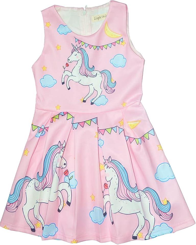 Girls Unicorn Dress Novelty Crease Free 100% Cotton Liner 2-8 Years