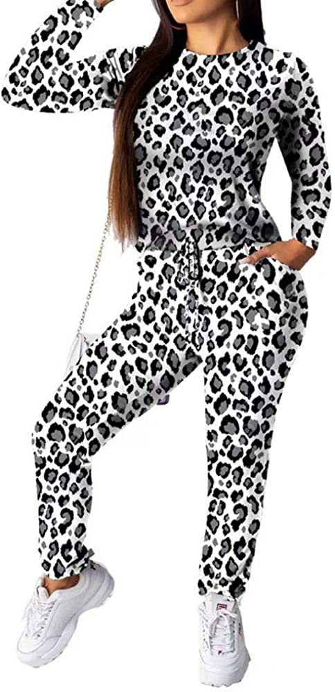 Women Two Piece Outfits Long Sleeve Anial Print Pullover and Skinny Pants Tracksuit Set Party Night Clubwear