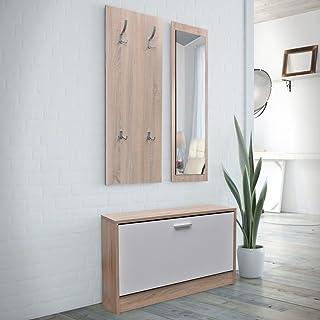 UnfadeMemory 3 en 1 Mueble Recibidor con Espejo y Perchero,M