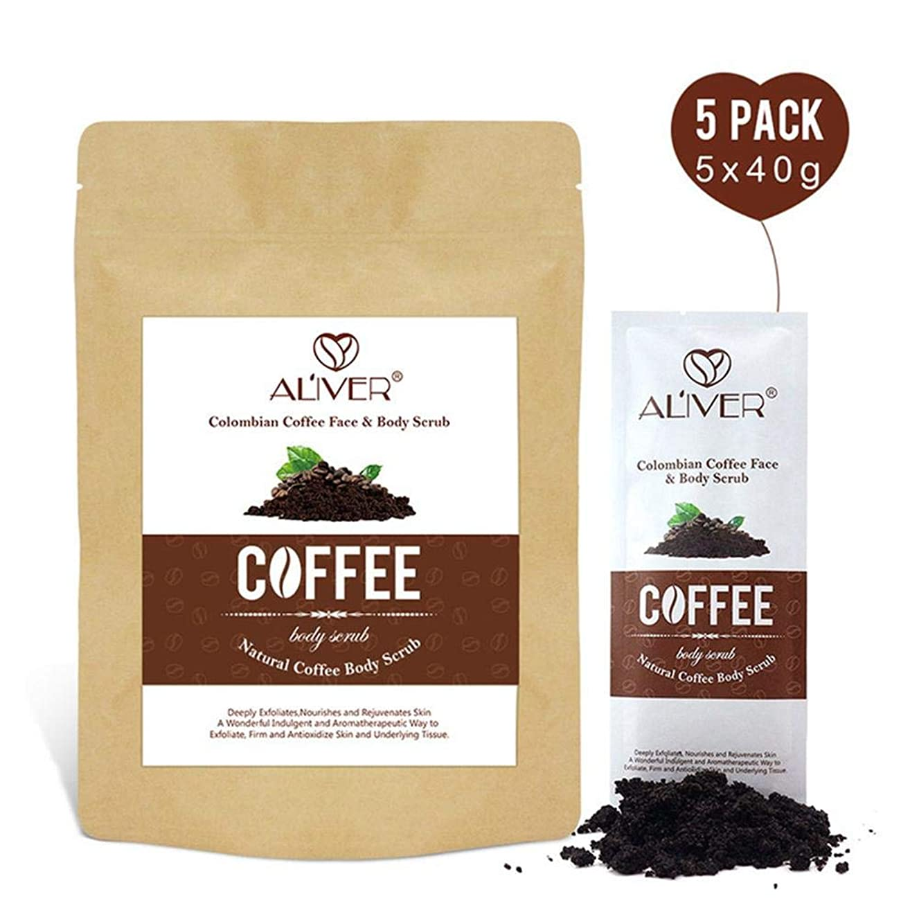 Baiwka Coffee Body Scrub(5 PACK), 100% Finest Pure Colombian Coffee Beans Blended With Natural Essential Oils, Organic Coffee Scrub For Face & Body Exfoliator Cellulite Eczema Reduction