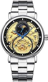 FORSINING Men's Automatic Analog Watch Fashion Skeleton Tourbillon Waterproof Moon Phase Leather Mechanical Watch
