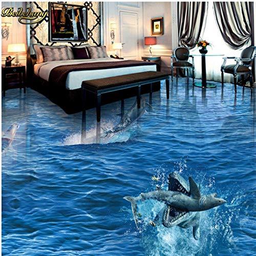 Bomdow Fotografía personalizada 3D suelo pintura Wallpaper Shark saludable Delphin Ocean World-250X313 cm