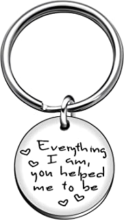 Key Chain Ring Mother Day Family Stepmom Gifts Women - Everything I Am,You Helped Me to Be