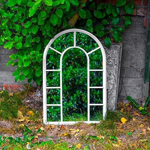 Maribelle - Großer Bogenspiegel aus Metall - für Garten, Außenbereich und im Haus - dekorativ - weiß