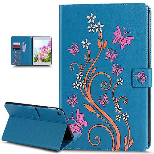 Coque iPad Mini 4,Etui iPad Mini 4,Coque iPad Mini 4 Etui,Papillon fleur Couleur peinte Etui Housse Cuir PU Portefeuille Folio Flip Wallet Coque Étui Poches Case Coque Housse pour iPad Mini 4,Bleu