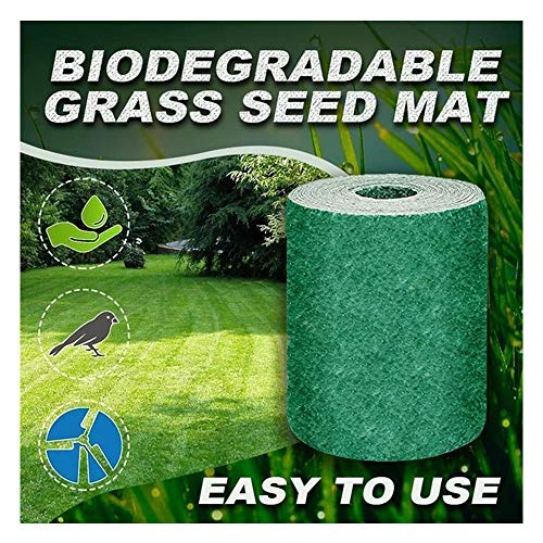 Biodegradable Grass Seed Mat, Grass Seed Mat Roll, Grass Seed Cushion Grow Mat, Designed For Full Daylight And Dense Shadows, Easy to Use, Perfect Protection Against Sunlight (Green)