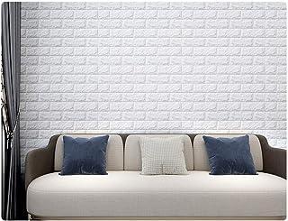 4Pcs Mowa Wall Sticker 3D Wallpaper Wall Decoration Panels Diamond PE Foam Brick Pattern Self-Adhesive Removable and Water...