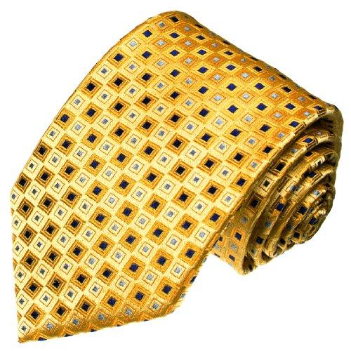 Lorenzo Cana - Marken Krawatte aus 100% Seide - Gold Blau Gelb Punkte kleine Karos - 42013