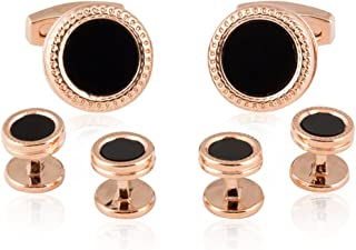Rose Gold Black Onyx Cufflinks and Studs Formal Set with Presentation Box