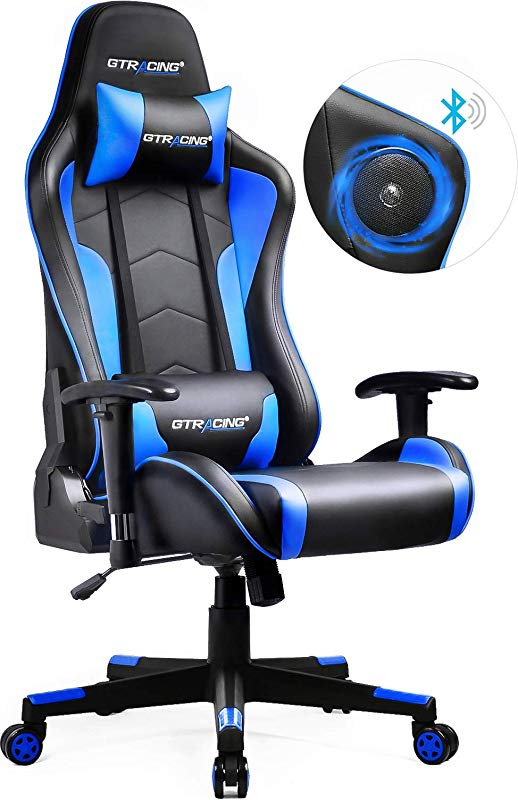 GTRACING Gaming Chair With Bluetooth Speakers Patented Design Music Video Game Chair Audio Heavy Duty Ergonomic Office Computer Desk Chair GT890M Blue