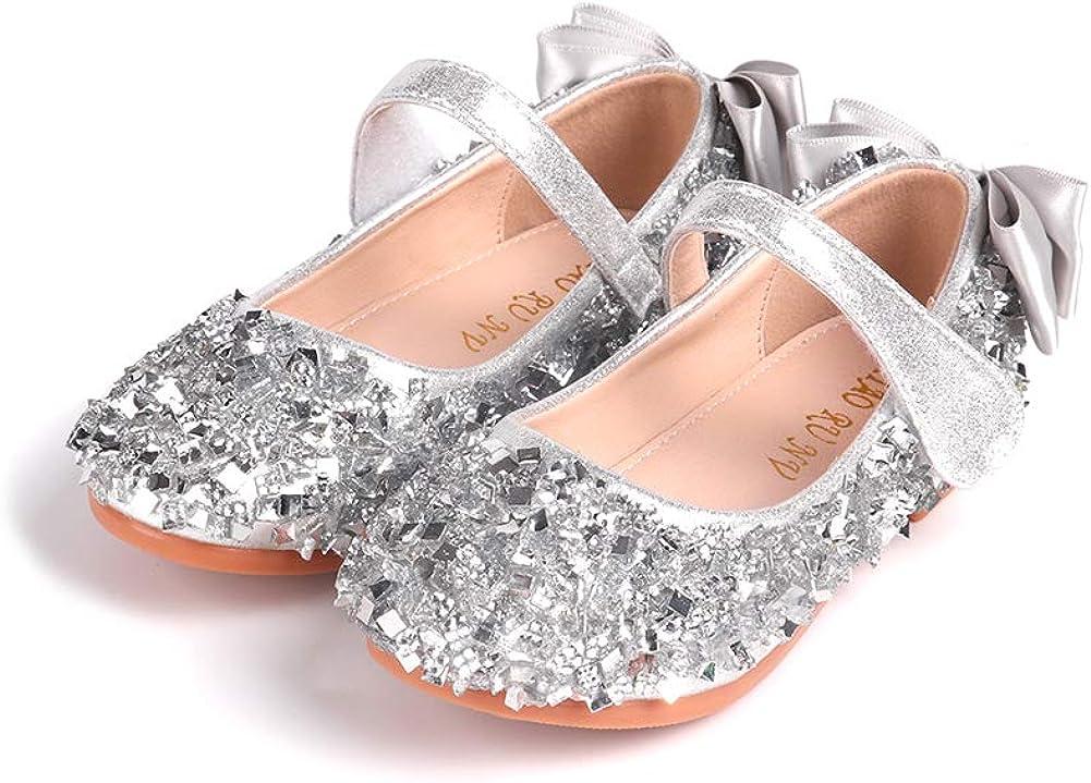 YIBLBOX Girl's Flats Glitter Rhinestones Ballet Shoes Ballerina Mary Jane Princess Wedding Dress Shoes