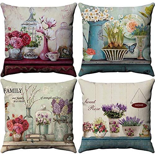 Waya - Set di 4 federe per cuscino, in morbido lino, quadrate, per divano, letto, casa, auto, stile moderno, 45 x 45 cm