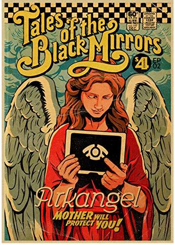 SHENGZI Canvas Poster Movie Black Mirror Poster Home Decor Vintage Wall Sticker Wall 50 * 70Cm Frame