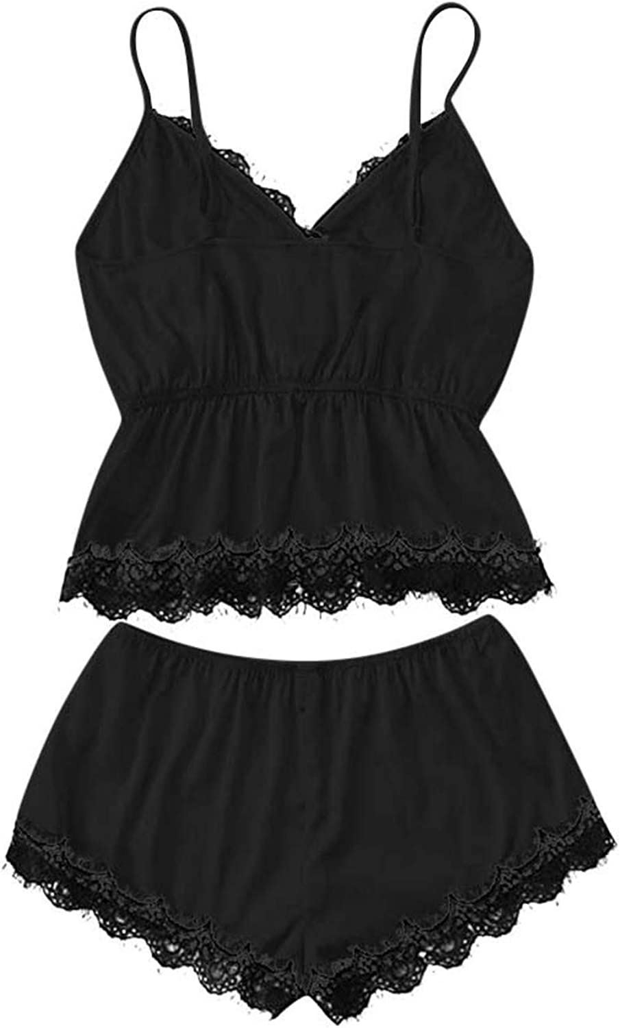 Maryia Women's Sleepwear Floral Lace Trim Satin Strap Cami Lingerie Short and Panty 2pcs Pajama Set Camisole Nightgown Black