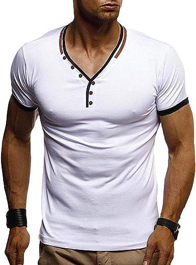 Camisetas Hombre - Slim Fit Stretch Camiseta Manga Corta ...