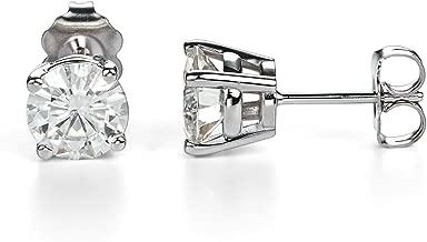 Forever One Round Cut Moissanite 14K White Gold Stud Earrings (G-H-I) by Charles & Colvard