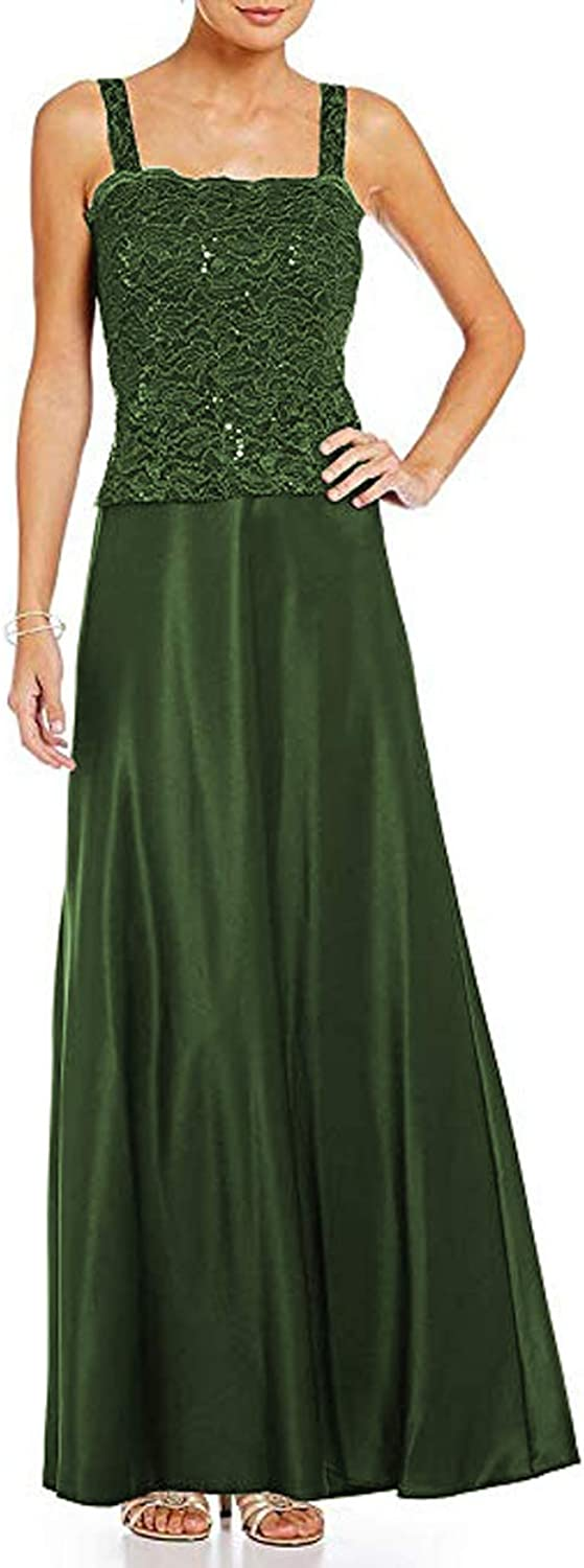 Women's Satin Ankle Length Mother of The Bride Dresses with Lace Jacket Plus Size 2 Piece