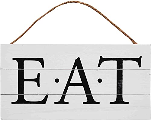 2021 GSM Brands outlet online sale Eat Wood Plank Hanging high quality Sign for Kitchen (13.75 x 6.9 Inches) outlet sale