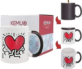 Kemug - Refreshus Keith Haring ART Coffee Mug, Birthday Gift, Christmas Tea Cup Ceramic, 11 OZ White - Heat Color Changing Mug Black