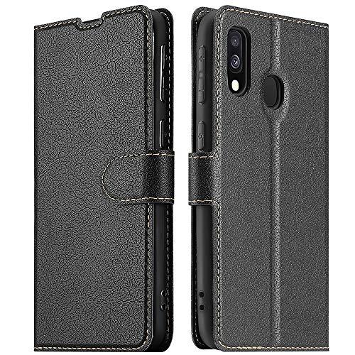 ELESNOW Hülle für Samsung Galaxy A40, Premium Leder Flip Wallet Schutzhülle Tasche Handyhülle für Samsung Galaxy A40 (Schwarz)