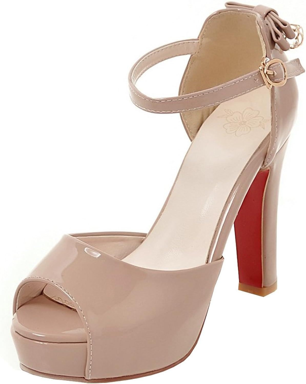 Artfaerie Women's High Heel Ankle Strap Sandals Patent Leather Pumps Peep Toe Court shoes