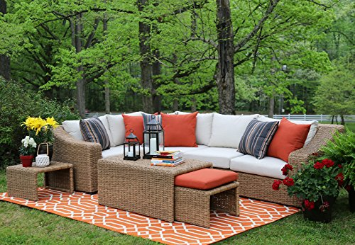 AE Outdoor SEC200340 8 Piece Arizona Sectional with Cushions