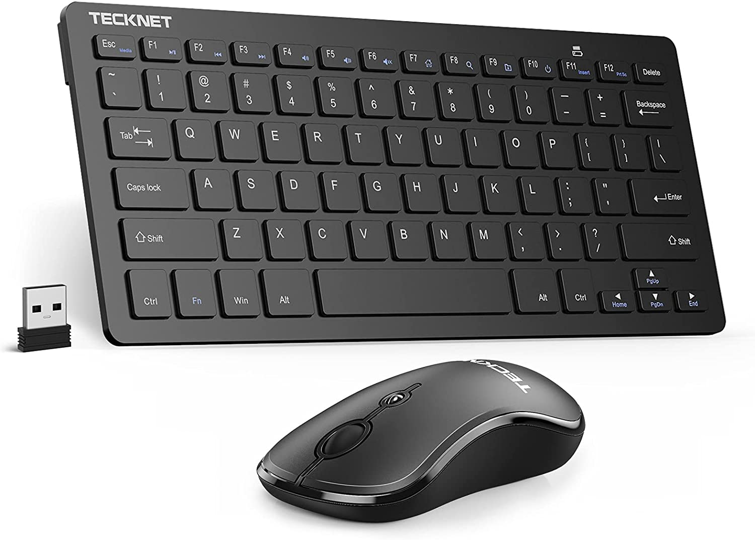Wireless Keyboard and Mouse Combo TECKNET 2.4GHz Ultra-Thin Portable Compact Small Keyboards & 3 Level DPI Wireless Mouse for PC, Desktop, Notebook, Laptop, Windows XP / Vista / 7 / 8 / 10, Mac