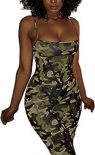 b214d60db7544 Camouflage Sexy Bodycon Clubwear Mini Dress for Women Party Club Night  Spaghetti Strap Plus Size