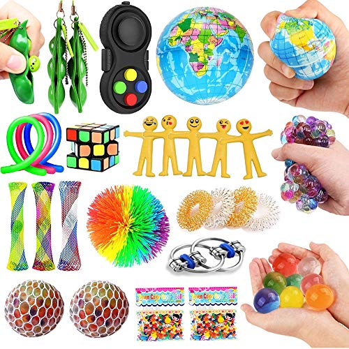Dciko Stress Relief Fidget Sensory Toys Set for Kids(25 Pack)-Squeeze Widget for Relaxing Therapy-Calming Toys for Special Needs and Focus-Perfect for Adults Children with ADHD Autism Anxiety