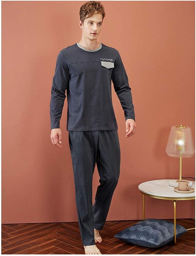 Mens Pajama Set Knitted Cotton Pajamas Pj Set Long Sleeve Top & Pants for Man Sleepwear Loungewear Nightwear M-XXL