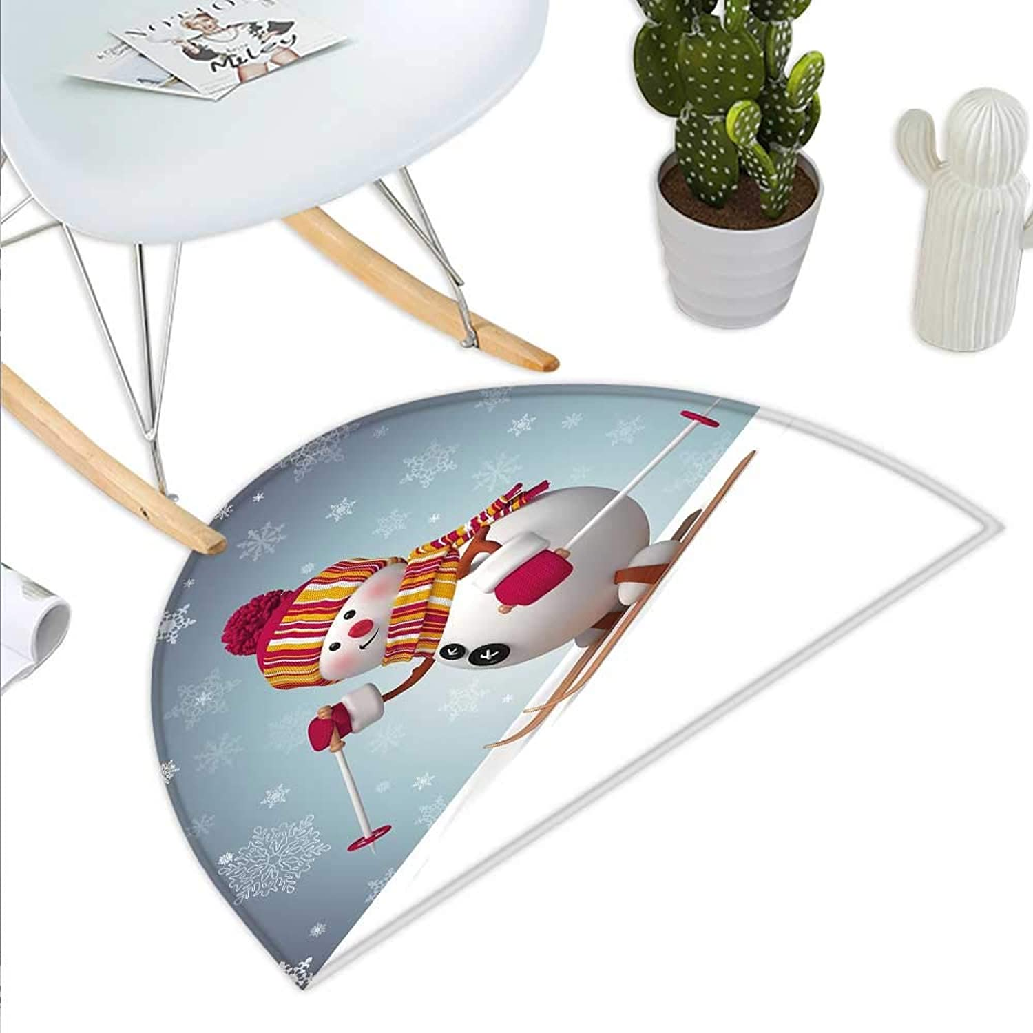 Snowman Semicircle Doormat Skiing Snowman in 3D Style with Ornate Snowflakes Winter Outdoors Activity Fun Halfmoon doormats H 35.4  xD 53.1  Multicolor
