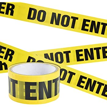 Marksman Yellow Caution Tape Hazard Danger Area Self Adhesive Barricade Tape Safety Warning Tape 48mm X 50m