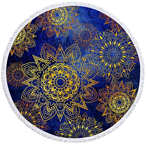 MMSWDT Toalla De Playa Redonda Azul 150Cm Mandala Print Tassel Seaside Holiday Play Shawl Quick Dry Bath Towel Sofa Cover